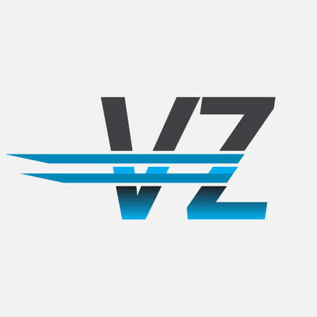 initial logo VZ company name colored black and blue, Simple and Modern Logo Design. Logó