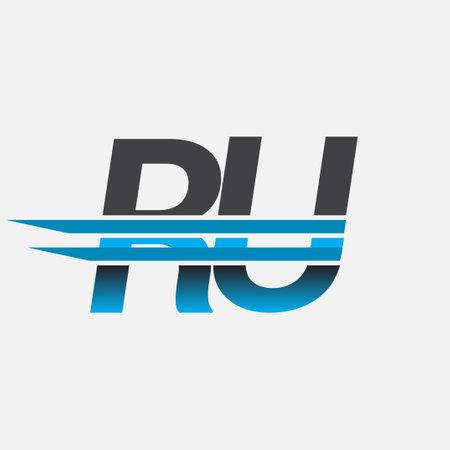 initial logo RU company name colored black and blue, Simple and Modern Logo Design. Logó