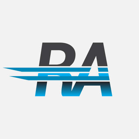 initial logo RA company name colored black and blue, Simple and Modern Logo Design.