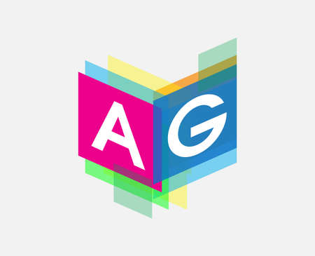 Letter AG logo with colorful geometric shape, letter combination logo design for creative industry, web, business and company.