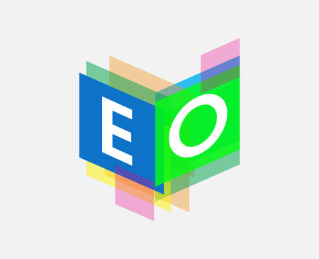 Letter EO logo with colorful geometric shape, letter combination logo design for creative industry, web, business and company.