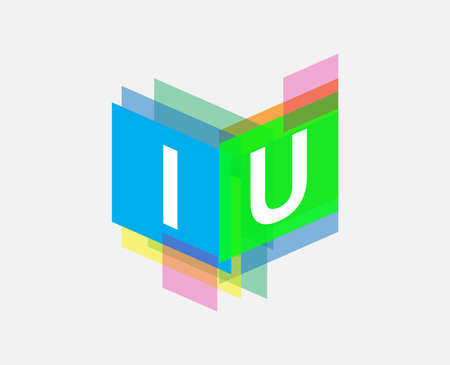Letter IU   with colorful geometric shape, letter combination   design for creative industry, web, business and company. Ilustracja