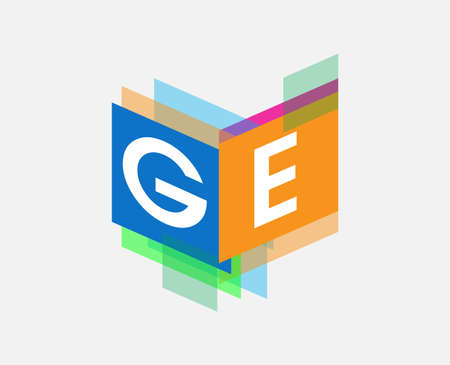 Letter GE  with colorful geometric shape, letter combination   design for creative industry, web, business and company.