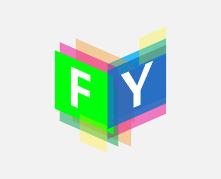 Letter FY  with colorful geometric shape, letter combination   design for creative industry, web, business and company.