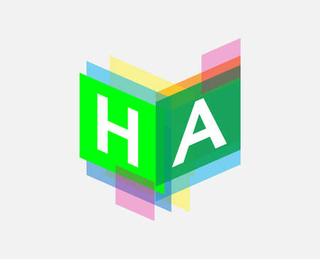 Letter HA  with colorful geometric shape, letter combination   design for creative industry, web, business and company.