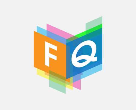 Letter FQ  with colorful geometric shape, letter combination   design for creative industry, web, business and company.