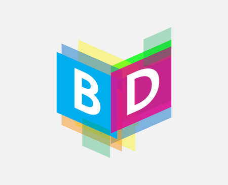 Letter BD  with colorful geometric shape, letter combination   design for creative industry, web, business and company.
