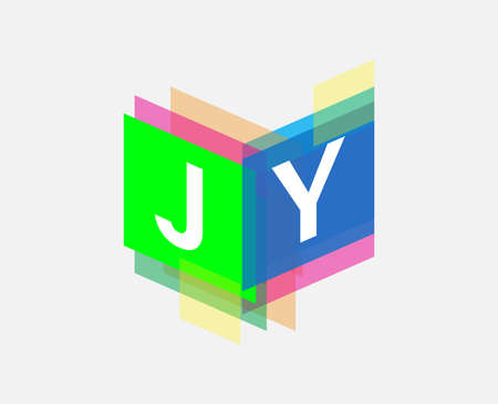 Letter JY  with colorful geometric shape, letter combination   design for creative industry, web, business and company. Ilustracja