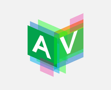 Letter AV  with colorful geometric shape, letter combination   design for creative industry, web, business and company.