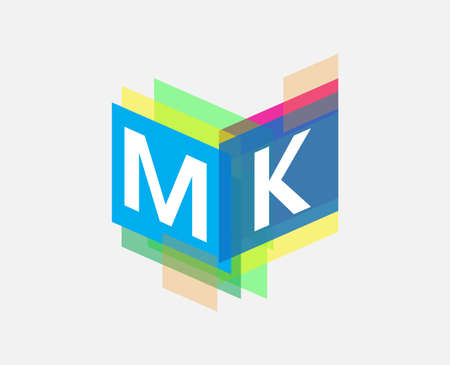 Letter MK  with colorful geometric shape, letter combination   design for creative industry, web, business and company.