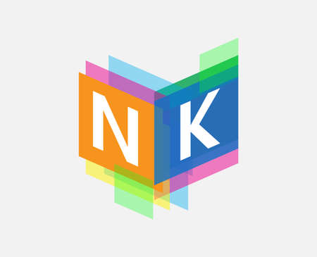 Letter NK logo with colorful geometric shape, letter combination logo design for creative industry, web, business and company.