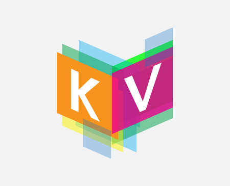 Letter KV  with colorful geometric shape, letter combination   design for creative industry, web, business and company.
