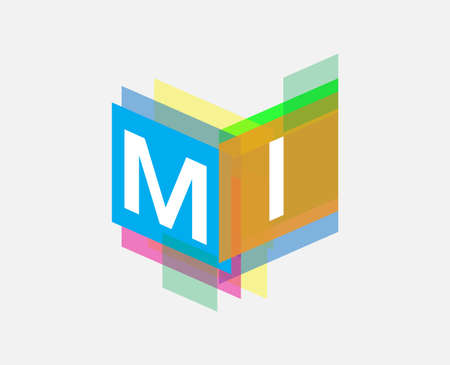 Letter MI  with colorful geometric shape, letter combination   design for creative industry, web, business and company.