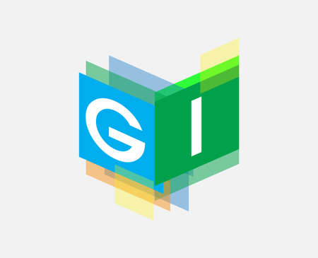 Letter GI  with colorful geometric shape, letter combination   design for creative industry, web, business and company.