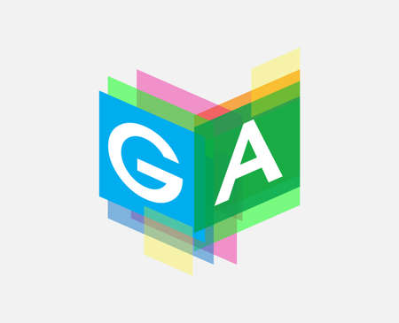 Letter GA  with colorful geometric shape, letter combination   design for creative industry, web, business and company. Ilustracja