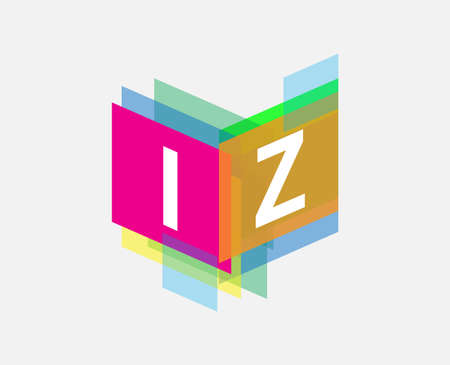 Letter IZ  with colorful geometric shape, letter combination   design for creative industry, web, business and company. Ilustracja