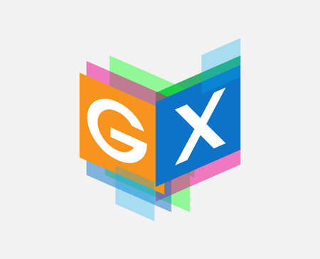 Letter GX  with colorful geometric shape, letter combination   design for creative industry, web, business and company.