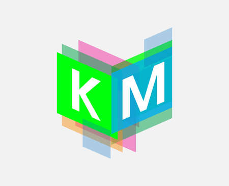 Letter KM logo with colorful geometric shape, letter combination logo design for creative industry, web, business and company. Logó