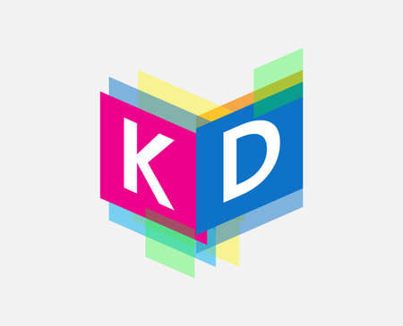 Letter KD logo with colorful geometric shape, letter combination logo design for creative industry, web, business and company.