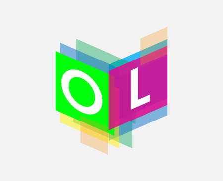 Letter OL logo with colorful geometric shape, letter combination logo design for creative industry, web, business and company. Ilustrace