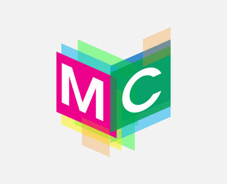 Letter MC logo with colorful geometric shape, letter combination logo design for creative industry, web, business and company. Illusztráció