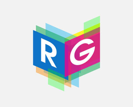 Letter RG with colorful geometric shape, letter combination design for creative industry, web, business and company. Vektoros illusztráció