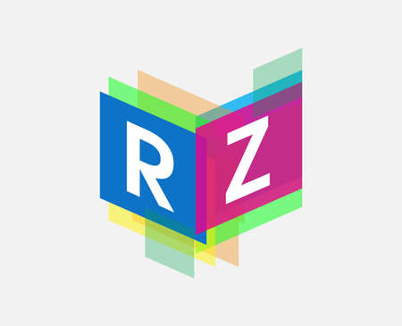 Letter RZ logo with colorful geometric shape, letter combination logo design for creative industry, web, business and company.