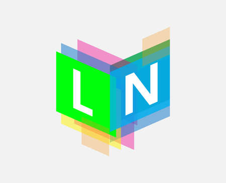 Letter LN logo with colorful geometric shape, letter combination logo design for creative industry, web, business and company. Ilustrace
