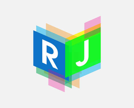 Letter RJ logo with colorful geometric shape, letter combination logo design for creative industry, web, business and company. Logo