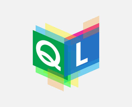 Letter QL with colorful geometric shape, letter combination design for creative industry, web, business and company.