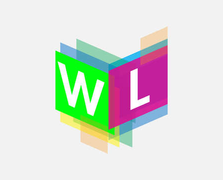 Letter WL with colorful geometric shape, letter combination design for creative industry, web, business and company.