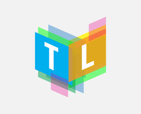 Letter TL with colorful geometric shape, letter combination design for creative industry, web, business and company.
