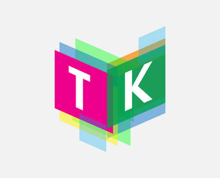 Letter TK with colorful geometric shape, letter combination design for creative industry, web, business and company.