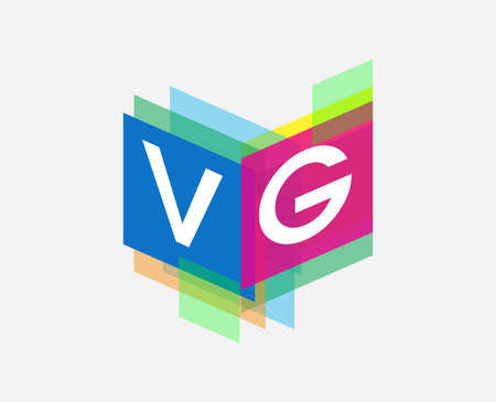 Letter VG logo with colorful geometric shape, letter combination logo design for creative industry, web, business and company.