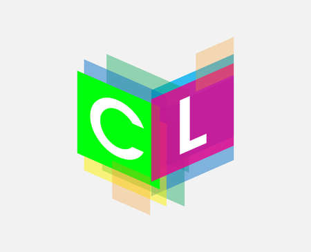 Letter CL logo with colorful geometric shape, letter combination logo design for creative industry, web, business and company.