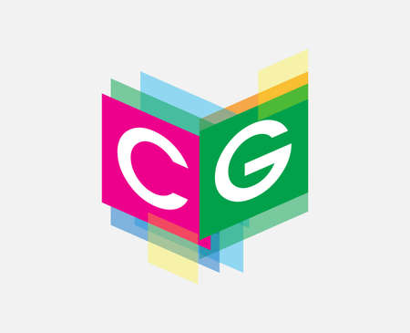 Letter CG logo with colorful geometric shape, letter combination logo design for creative industry, web, business and company.