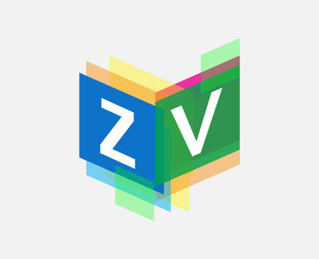 Letter ZV logo with colorful geometric shape, letter combination logo design for creative industry, web, business and company.