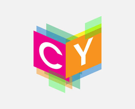 Letter CY logo with colorful geometric shape, letter combination logo design for creative industry, web, business and company.