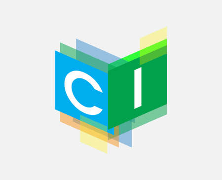 Letter CI logo with colorful geometric shape, letter combination logo design for creative industry, web, business and company.