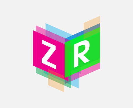 Letter ZR logo with colorful geometric shape, letter combination logo design for creative industry, web, business and company. Logó