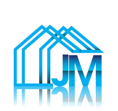 initial logo JM with house icon, business logo and property developer.