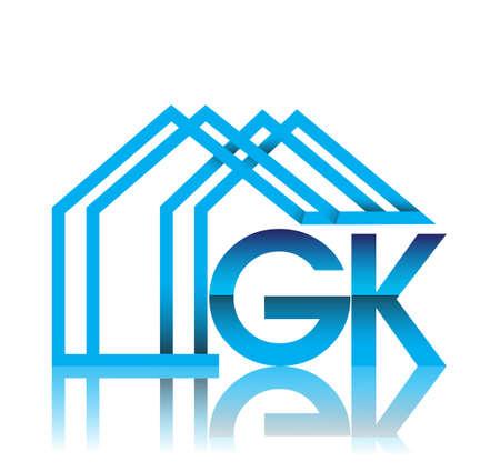 initial logo GK with house icon, business logo and property developer. Illusztráció