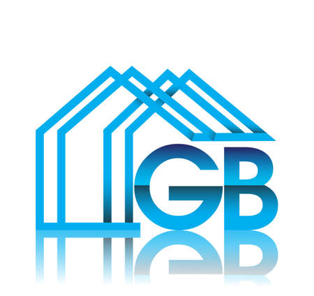 initial logo GB with house icon, business logo and property developer.