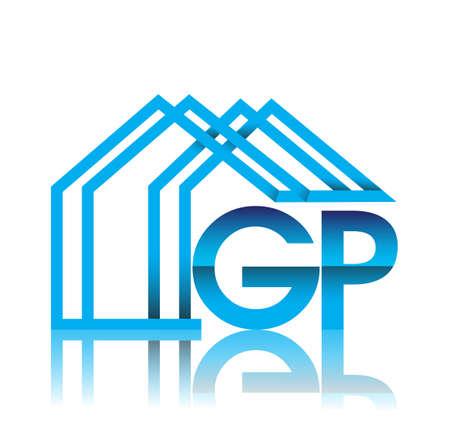 initial logo GP with house icon, business logo and property developer. Illusztráció