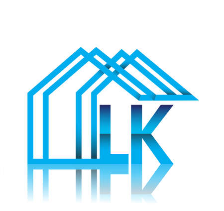 initial logo LK with house icon, business logo and property developer.