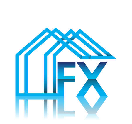 initial logo FX with house icon, business logo and property developer. 矢量图像