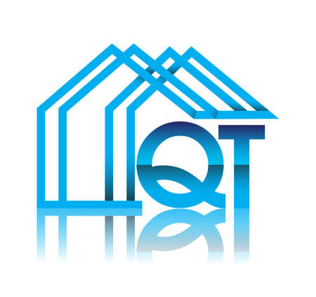 initial logo QT with house icon, business logo and property developer.