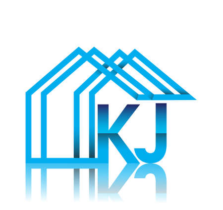 initial logo KJ with house icon, business logo and property developer. Logo