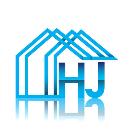 initial logo HJ with house icon, business logo and property developer.
