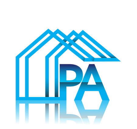 initial logo PA with house icon, business logo and property developer.